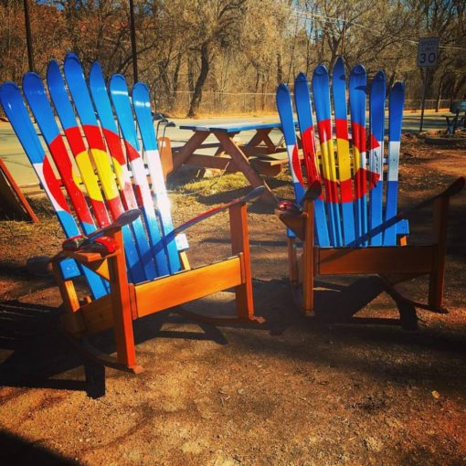 Colorado Flag Rocking Ski Chairs