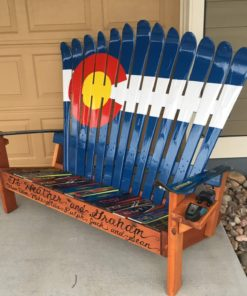 Colorado Flag Repurposed Adirondack Ski Bench with custom front board