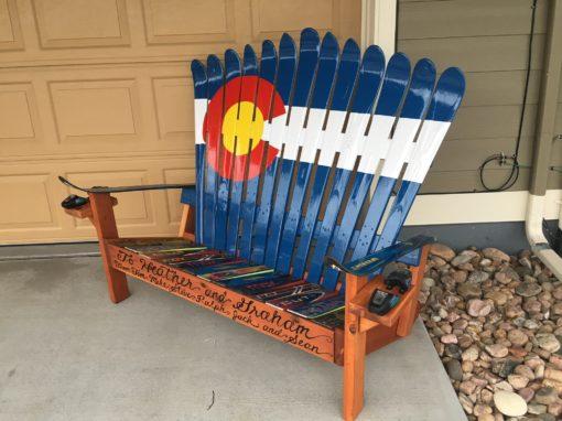 Colorado Flag Repurposed Adirondack Ski Bench with custom front board