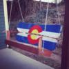 Colorado Flag Repurposed Hand Painted Mountain Mural Adirondack Snowboard Bench Porch Swing