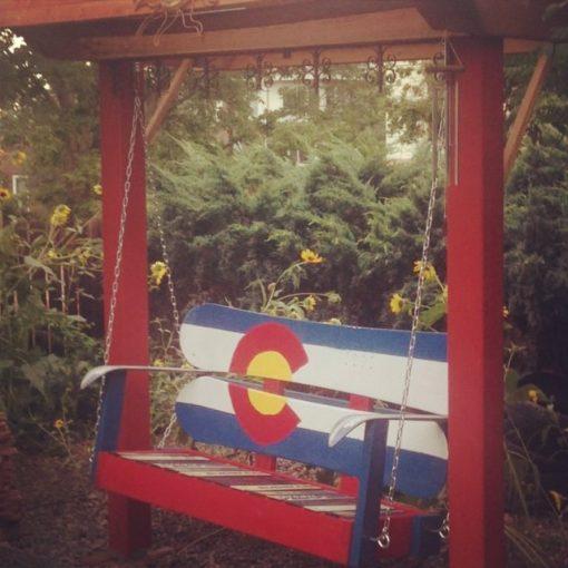 Colorado Flag Repurposed Hand Painted Mountain Mural Adirondack Snowboard Bench Hanging Swing