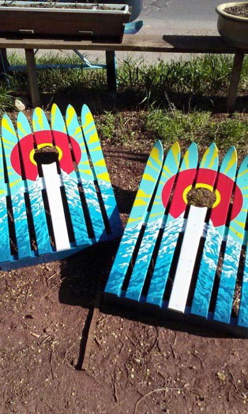 Colorado Flag Sun Burst Corn Hole Ski Boards