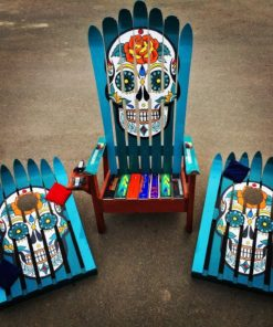 Hand painted sugar skull adirondack chair & ski cornhole set