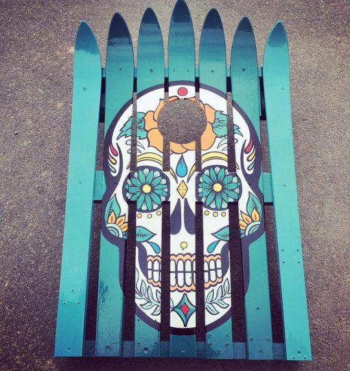 Hand Painted Sugar Skull Corn Hole Ski Set