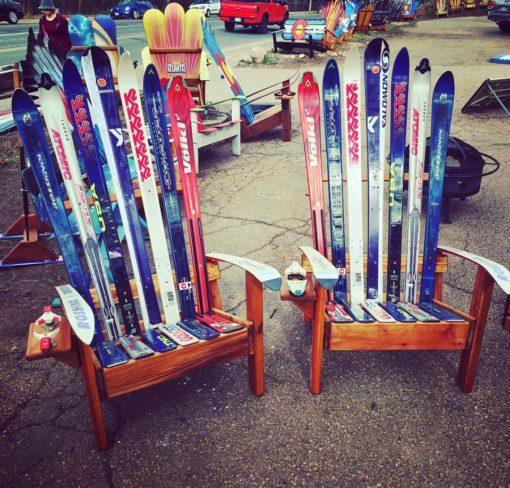 2 Unpainted Adirondack Ski Chairs