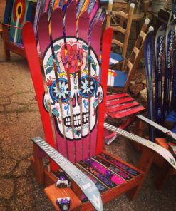 Hand painted red sugar skull adirondack chair
