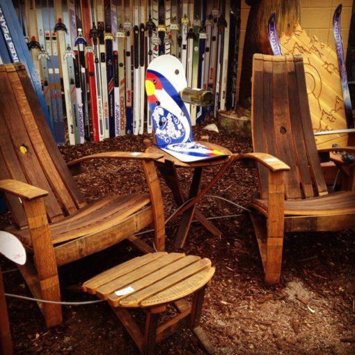 Repurposed Wine Barrel Chair & Ottoman