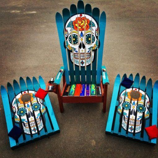 Hand Painted Sugar Skull Adirondack Ski Chair & Corn Hole Boards