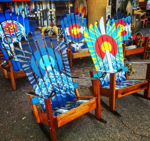 Assorted Painted Adirondack Ski Chairs