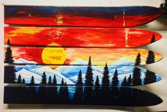 Hand Painted Marble Colorado Mountain Mural Wall Art