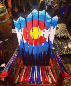 Colorado Flag Mountain Adirondack Ski Chair
