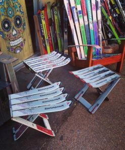 Repurposed Skis Side Tables - White