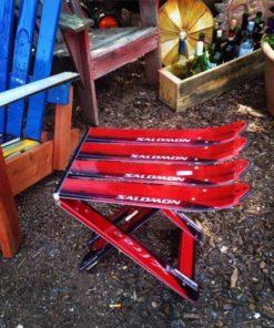 Repurposed Skis Side Table - Red