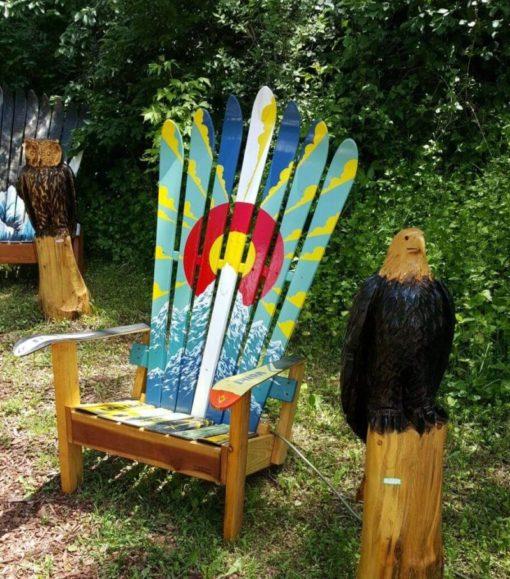 Colorado Flag Sun Burst Adirondack Ski Chairs