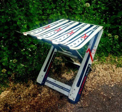 Repurposed Skis Side Table