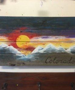 Hand Painted Colorado Flag Mountain Wall Art