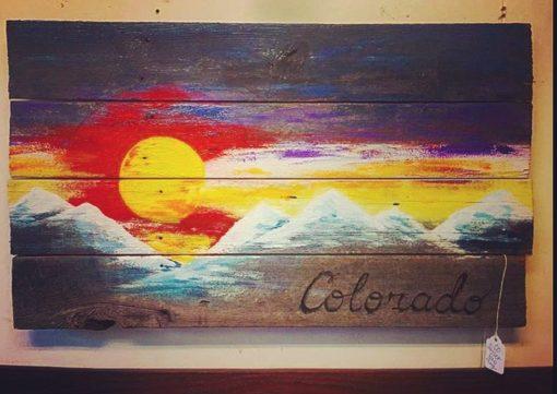Colorado Sunset Barnwood Wall flag