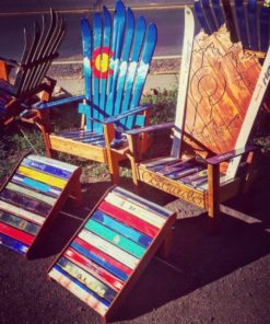 Hand Painted & Hand Carved Colorado Flag Adirondack Ski Chairs with Ottoman