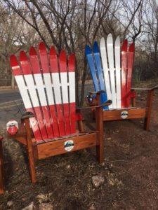 Red White & Blue Adirondack Ski Chairs