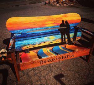 Beach sunset Mural snowboard bench