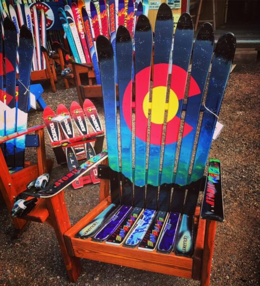CO Northern lights mountain silhouette adirondack ski chair