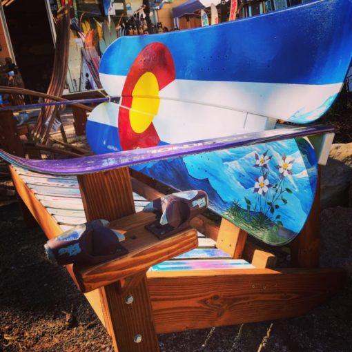 Colorado Columbines and Mountains Snowboard Bench