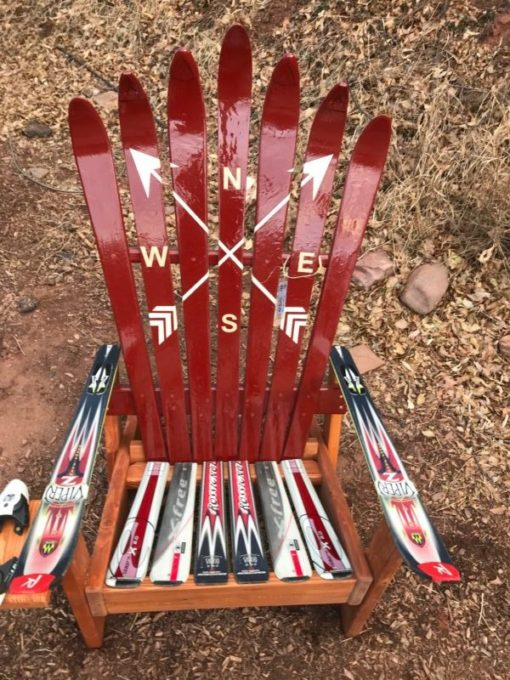 Arrows ski chair, hand painted, burgundy
