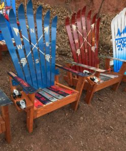 Navy Blue Crossed Arrows Adirondack Ski Chair