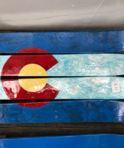 Marbled Colorado Flag Wall Art hand painted on Skis