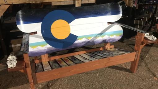 Colorado Flag Purple Mountains Adirondack Snowboard Bench