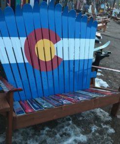 Colorado Flag Adirondack Ski Bench