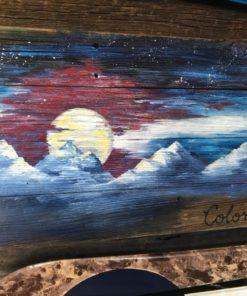 Colorado Night Mural Barnwood Flag (medium)