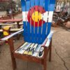 CO FLAG SKI CHAIR W/ TALL BASE