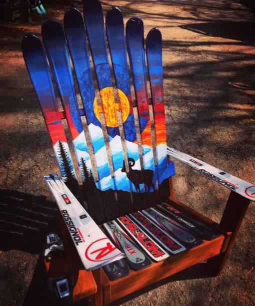 Colorado Sunset Bighorn Sheep Mural Ski Chair