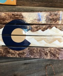 Colorado Mountain Blue/Brown/Beige Ski Wall Art