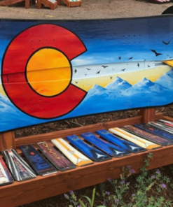 Colorado Sunset Mural with Birds Bench