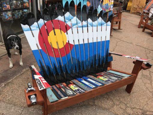 Colorado Mountain Mural Ski Bench