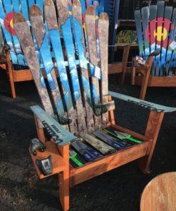 Sasquatch Yeti Squatch Bigfoot Hand Painted Adirondack Ski Chair Set