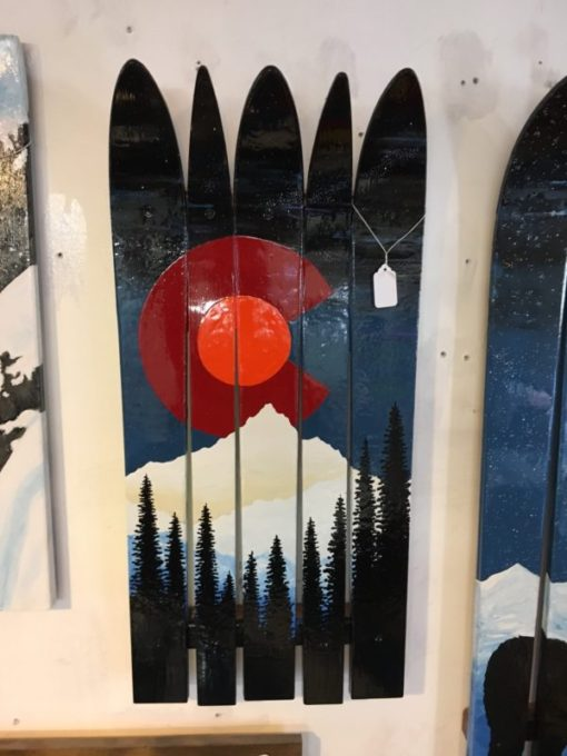Colorado Flag Rocky Mountains Orange Moon Mural Ski Wall Art hand painted