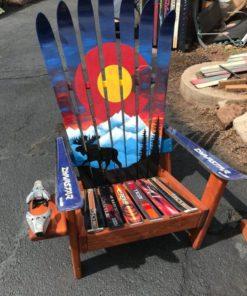 Colorado Moose Mountain Mural Hand Painted Adirondack Ski Chair Set