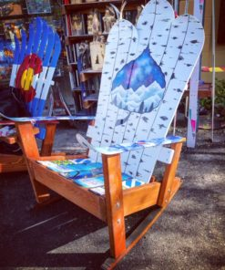 Aspen night sky rocker mural adirondack ski rocking chair