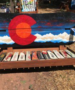 Colorado Orange Moon Mural Adirondack Snowboard BenchColorado Flag Hybrid Bench