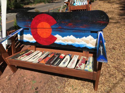 Colorado Orange Moon Mural Adirondack Snowboard Bench