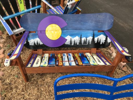 Purple Mountain Majesty Hand Painted Snowboard Bench