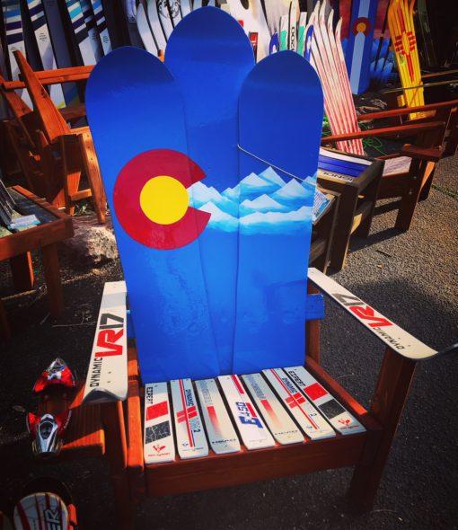 Colorado Flag Mountain Stencil Adirondack Snowboard Chair