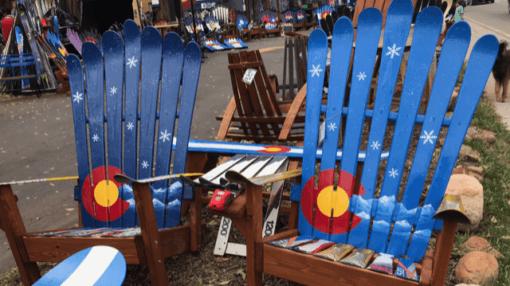 Colorado Mountain Snowflakes Adirondack Ski Chair