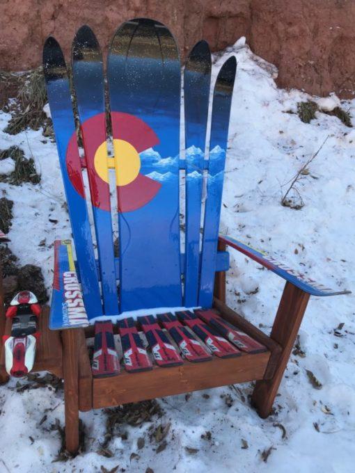 Custom Adirondack Hybrid Ski & Snowboard Chairs, Colorado flag plus mountains and night sky