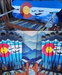 Bench & 2 chairs Set- USAF Air Force Fighter Jets on Colorado Mountain Mural Adirondack Snowboard Bench & Ski Chairs