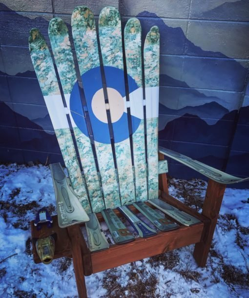 Military Camo Colorado Flag Adirondack Ski Chair