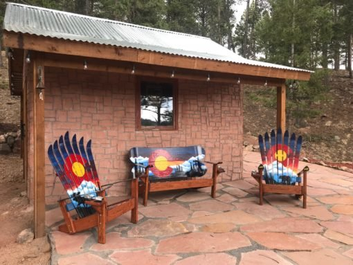 Colorado Mountain Mural Moose Adirondack Ski Chair